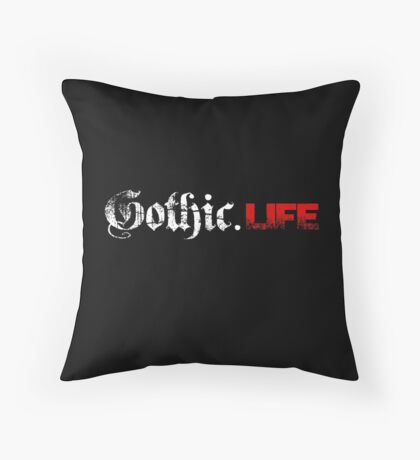 Gothic.Life Logo (White & Red) Throw Pillow