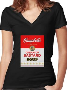 Campbell's Extra Thick Cream of Bastard Soup (black) Women's Fitted V-Neck T-Shirt