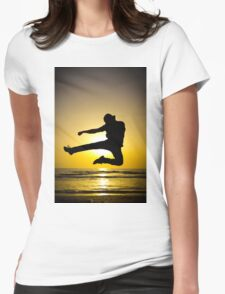 Martial arts silhouette at sunset Womens Fitted T-Shirt