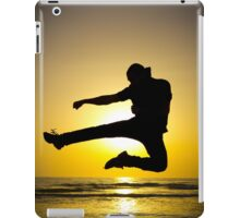 Martial arts silhouette at sunset iPad Case/Skin