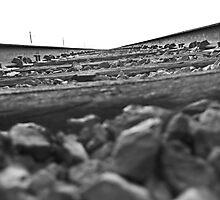 B&W between the rail Photographic Print