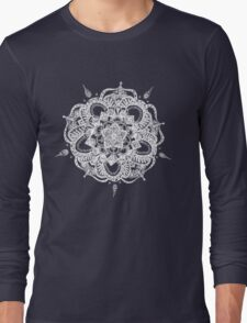 White and Gray Mandala Long Sleeve T-Shirt