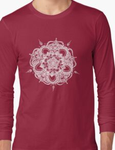White and Gray Mandala Long Sleeve T-Shirt
