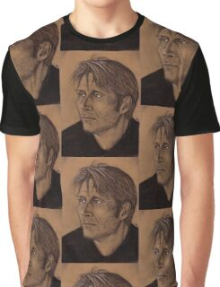 Mads Mikkelsen - Charcoal Portrait Graphic T-Shirt