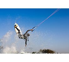 Kitesurfing in the Mediterranean sea  Photographic Print