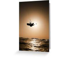 Kitesurfing at sunset Greeting Card