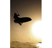 Kitesurfing at sunset in the Mediterranean sea  Photographic Print