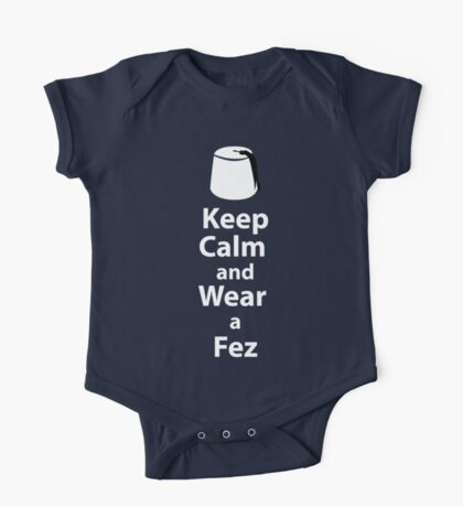 Keep Calm and Wear a Fez - White One Piece - Short Sleeve