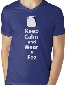 Keep Calm and Wear a Fez - White Mens V-Neck T-Shirt