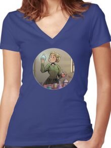 Curie Round Design 01 Women's Fitted V-Neck T-Shirt