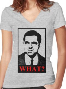Mr Bean says a what Women's Fitted V-Neck T-Shirt
