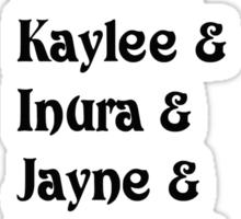 Mal& Zoe& Wash& Kaylee& Inura& Jayne& Simon& River& Book.   [black] Sticker