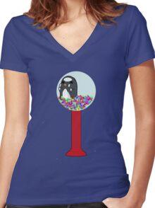 Penguin Machine Women's Fitted V-Neck T-Shirt