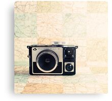 Retro - Vintage Pastel Camera on Beige Pattern Map Background Metal Print