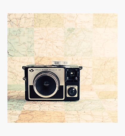Retro - Vintage Pastel Camera on Beige Pattern Map Background Photographic Print