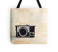 Retro - Vintage Pastel Camera on Beige Pattern Map Background Tote Bag