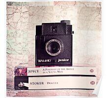 Retro - Vintage Black Camera on Beige Background and books  Poster