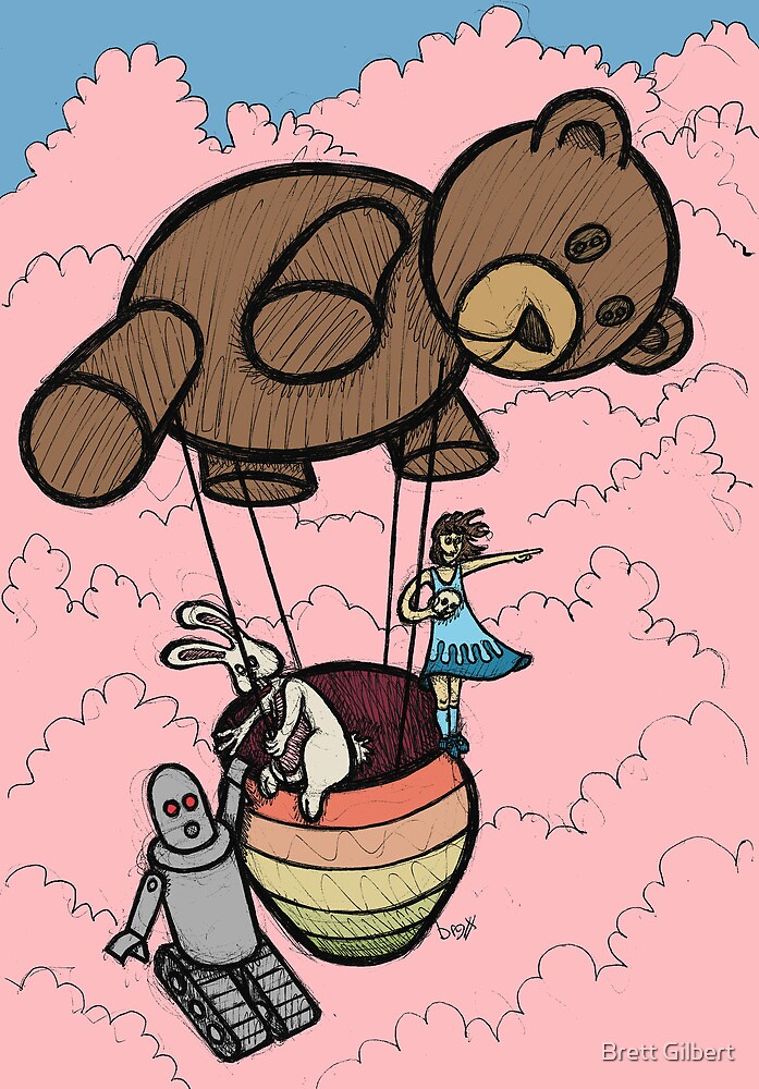 Teddy Bear And Bunny - Cotton Candy Clouds by Brett Gilbert