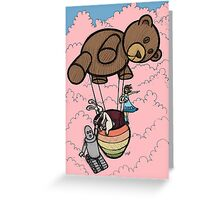 Teddy Bear And Bunny - Cotton Candy Clouds Greeting Card