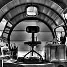 B-17 Cockpit Under Restoration B&W by Michael  Herrfurth