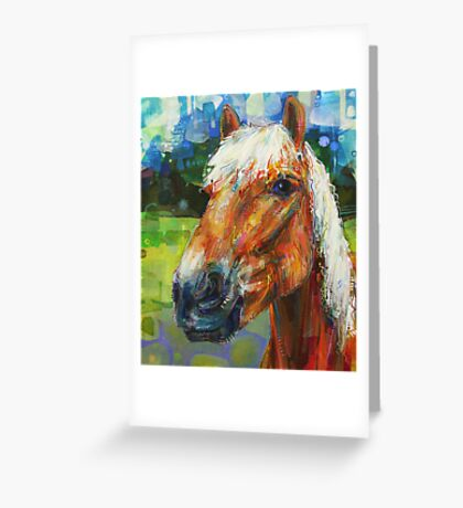 Haflinger horse (looking left) painting - 2010 Greeting Card