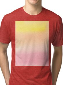 Hand-Painted Watercolor Background Pink Yellow Gradation Tri-blend T-Shirt