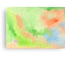 Watercolor Hand Painted Orange Green Blue Abstract Background Canvas Print