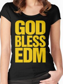 God Bless EDM (Electronic Dance Music) [mustard] Women's Fitted Scoop T-Shirt