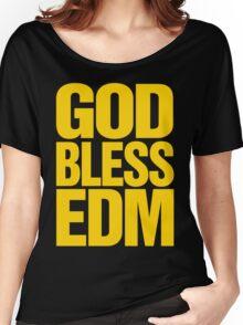 God Bless EDM (Electronic Dance Music) [mustard] Women's Relaxed Fit T-Shirt