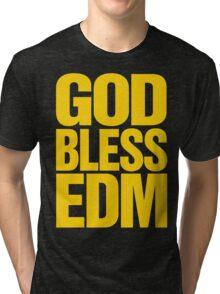 God Bless EDM (Electronic Dance Music) [mustard] Tri-blend T-Shirt