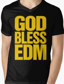 God Bless EDM (Electronic Dance Music) [mustard] Mens V-Neck T-Shirt
