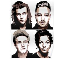 One Direction Vector Portrait Poster