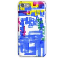Hand Painted Acrylic Brush Strokes Blue Red Yellow Red iPhone Case/Skin