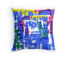 Hand Painted Acrylic Brush Strokes Blue Red Yellow Red Throw Pillow