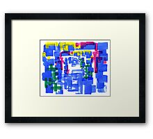Hand Painted Acrylic Brush Strokes Blue Red Yellow Red Framed Print