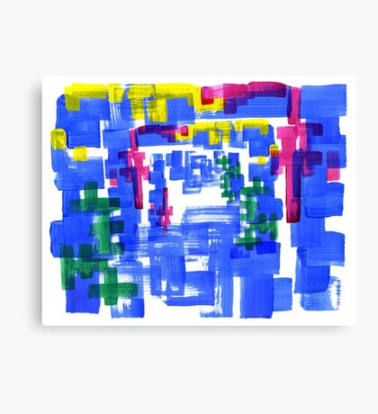 Hand Painted Acrylic Brush Strokes Blue Red Yellow Red Canvas Print