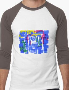 Hand Painted Acrylic Brush Strokes Blue Red Yellow Red Men's Baseball ¾ T-Shirt