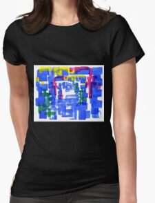 Hand Painted Acrylic Brush Strokes Blue Red Yellow Red Womens Fitted T-Shirt