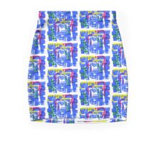 Hand Painted Acrylic Brush Strokes Blue Red Yellow Red Mini Skirt