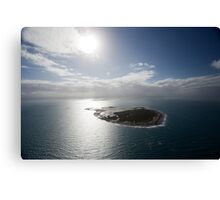 Aerial view of Snapper Island, Queensland, Australia with white cloud formations and blue ocean Canvas Print