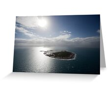 Aerial view of Snapper Island, Queensland, Australia with white cloud formations and blue ocean Greeting Card