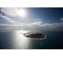 Aerial view of Snapper Island, Queensland, Australia with white cloud formations and blue ocean Photographic Print