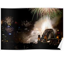 Spectacular fireworks display over Sydney Harbour Bridge, Australia Poster