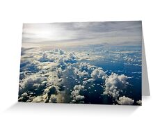 Aerial view of white cloud formations and blue ocean Greeting Card