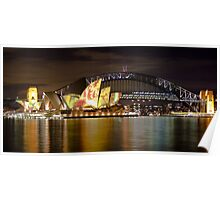 Sydney Opera House with colour display on roof and Harbour Bridge at night, Sydney, Australia Poster