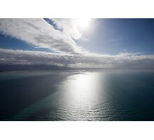 Aerial view of sea near Queensland, Australia with white cloud formations and blue ocean Photographic Print
