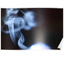Wisp of smoke backlit by lamp Poster