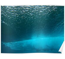 Underwater view of breaking wave in blue ocean Poster