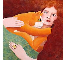Girl with Ginger Cat Photographic Print