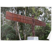 Rusted iron angel sculpture Poster